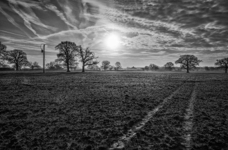 South Nutfield footpath landscape B&W