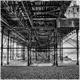 Under pier B&W