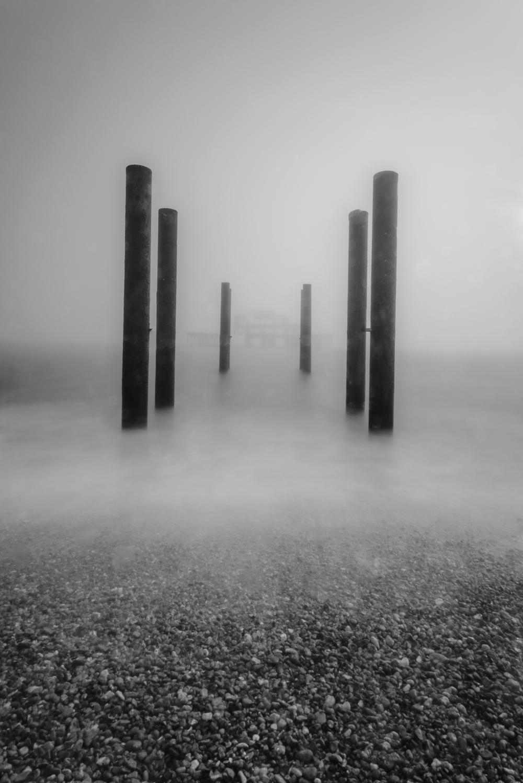 West pier in mist LE